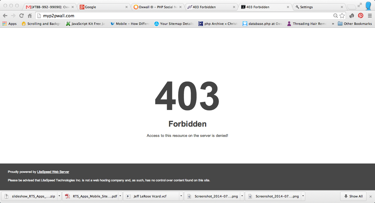 "a 403 error ""forbidden"""