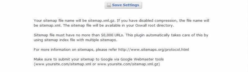 sitemap generator oxwall plugin
